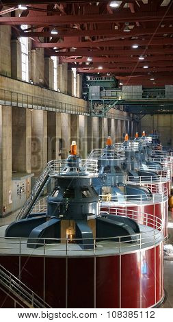 Hydroelectric turbines at Hoover Dam in Nevada