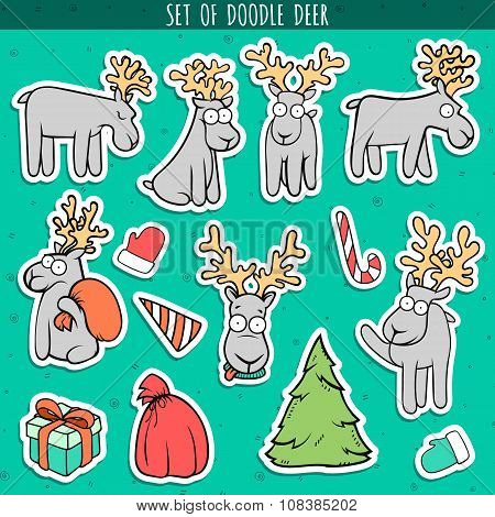 Set sticker deer doodle, different poses for design. Deer standing