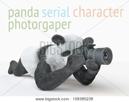 Panda Animail Character Photographer Camera Takes Picture Isolated Background 3D Cg Render Illustrat