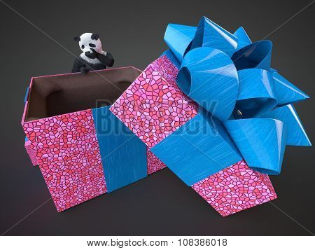 Panda Animail Character Gift Box Surprise Holidays Standing On Dark Background Isolated Download Buy