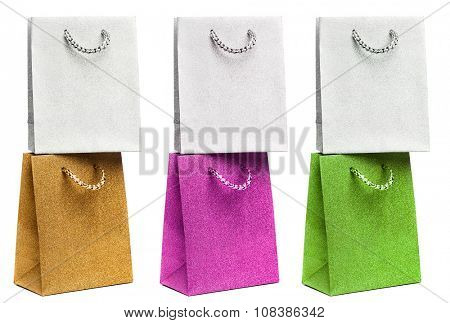 many gift bags on white background