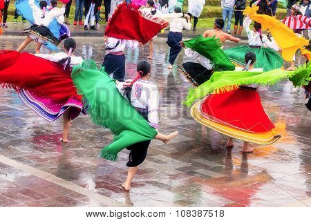 Girls And Boys Celebrating Inti Raymi