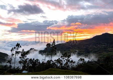 Sunset In A Village, Foothills Of The Andes