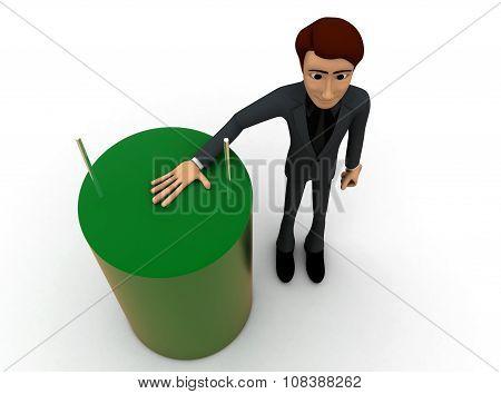 3D Man Presenting Capacitor Concept