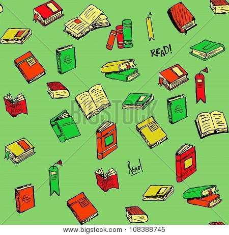 Hand-drawn Book and Accessories Icons and Seamless Pattern.