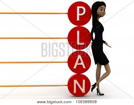 3D Woman Plan Text Concept