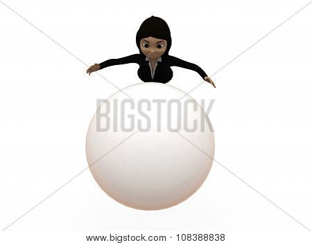 3D Woman Trying To Catch Big Ball Concept