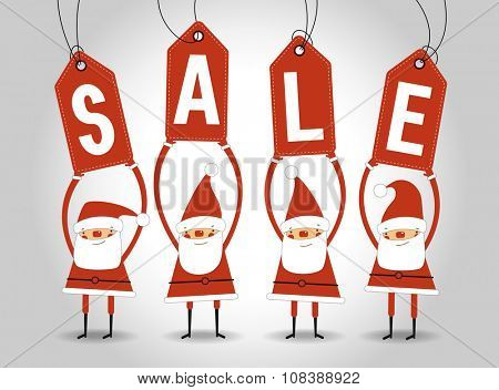 Big Christmas sale with Santa. Sale tags. Concept of discount shopping. Christmas sale background. File is saved in 10 EPS version. This illustration contains a transparency
