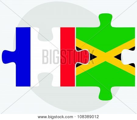 France And Jamaica Flags