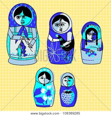 Cubist Russian Matryoshka Nesting Dolls