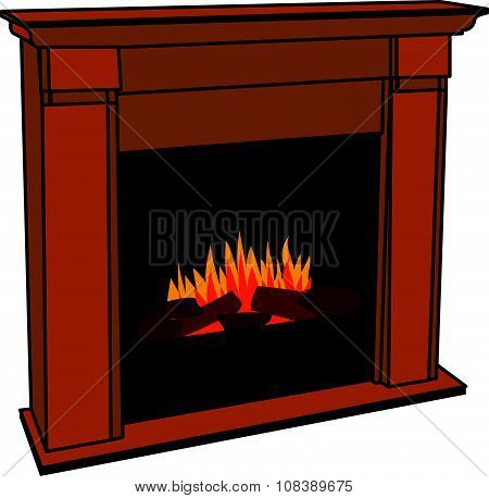 Realistic Wooden Electric Artificial Fireplace with Orange and Yellow Flame Interior w/ Fake Fire.