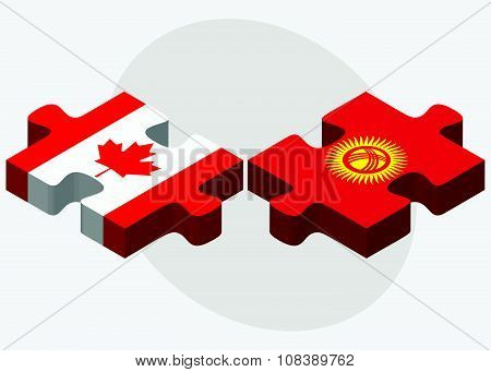 Canada And Kyrgyzstan Flags