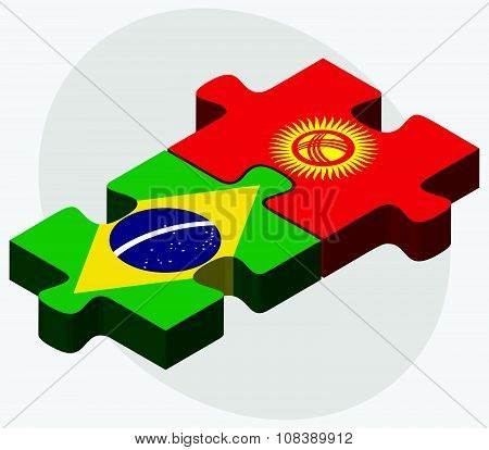 Brazil And Kyrgyzstan Flags