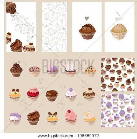 Detailed set with different muffins. Birthday cakes