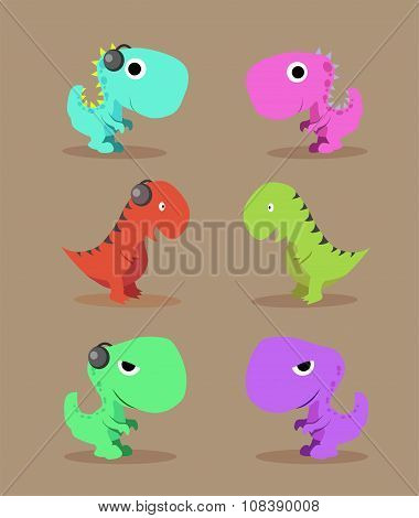 illustration of a cute dinosaur group on isolated brown background
