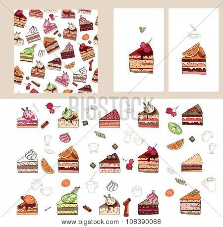 Set with different  fruit cake slices. Different taste and color.