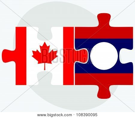 Canada And Laos Flags