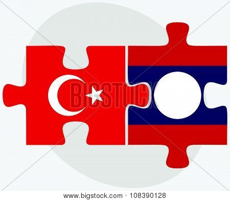 Turkey And Laos Flags