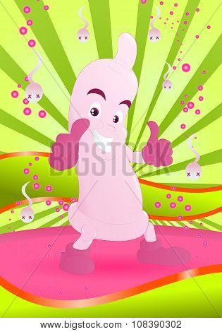 happy pink condom smiling with thumb up