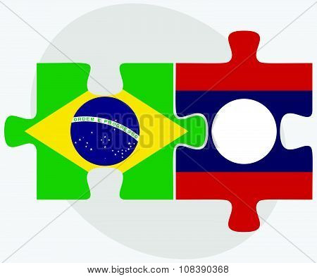 Brazil And Laos Flags