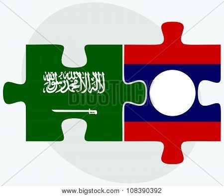 Saudi Arabia And Laos Flags