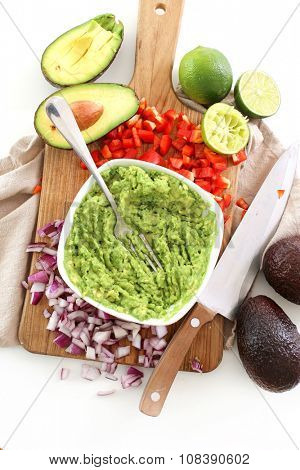 Delicious guacamole dip on the table