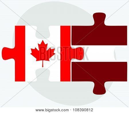 Canada And Latvia Flags