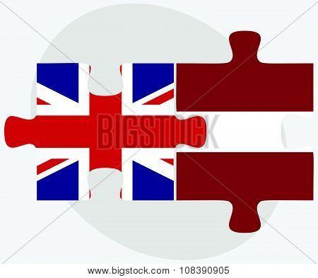 United Kingdom And Latvia Flags