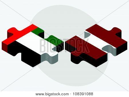 United Arab Emirates And Latvia Flags