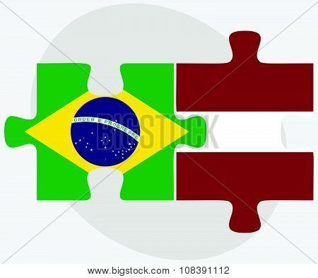 Brazil And Latvia Flags