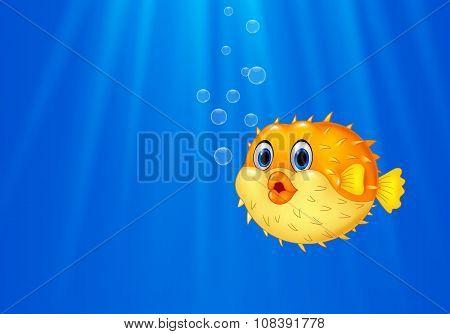 Cartoon funny puffer fish swimming in the ocean