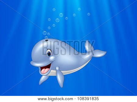 Cartoon whale swimming in the ocean