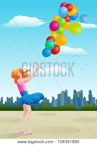 Girl Hold Baloon