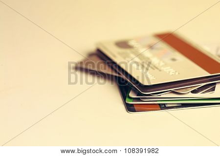Credit cards on the table