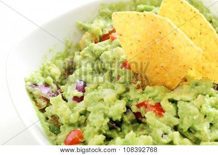 Delicious guacamole dip on the table