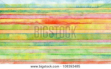 Abstract strip watercolor painted background.