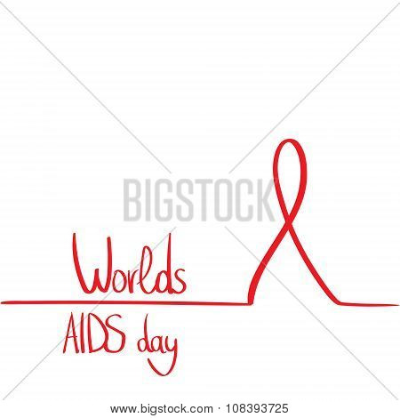 World AIDS Day Awareness Red Ribbon Concept Outline Minimal