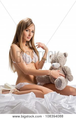 Sexuality and innocence. Romantic model posing