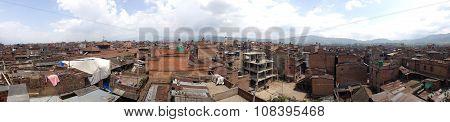Bhaktapur,nepal-april 2015: Panorama View Of Town In Bhaktapur Durbar Square Before Earthquake In Ap