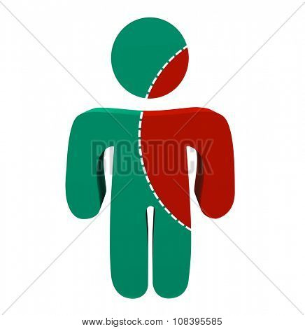 A person with a portion marked to cut out of him symbolizing something spreading