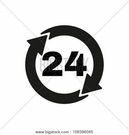 The 24 hours icon. Twenty-four hours open symbol. Flat