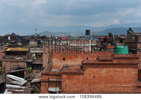 Bhaktapur,nepal-april 2015: View Of Town In Bhaktapur Durbar Square Before Earthquake In April 2015