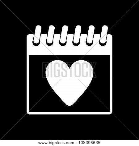The calendar icon. Valentines day symbol.