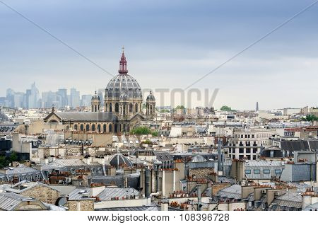 Paris, France - May 15, 2015: Saint-augustin Church With La Defense In The Background