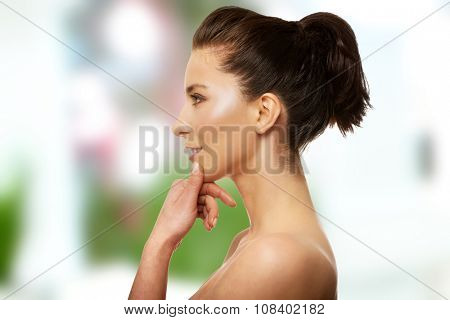 Beautiful caucasian toothy smiling woman with make up.