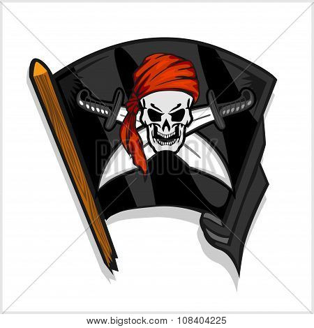 Black pirate flag with skull and Cross Swords