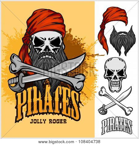 Pirate Skull in Red Headband with Cross Sword and bone