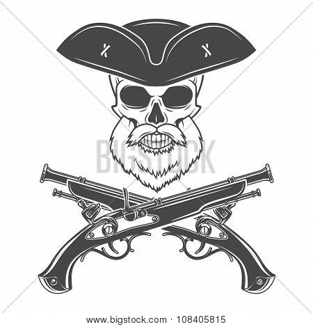 Captain skull with beard in cocked hat vector. Edward Teach logo template. death t-shirt design. Vic