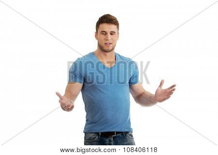 Handsome young man with open hands.