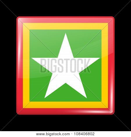 Myanmar Variant Flag. Glassy Icon Square Shape